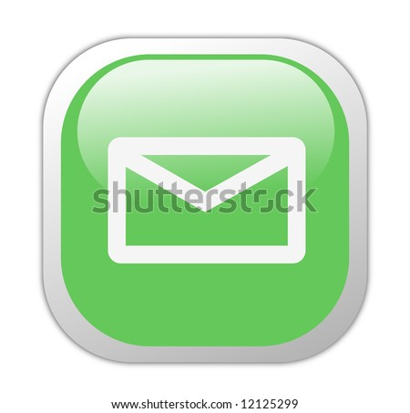 Glassy Green Square Email Icon Button - stock photo