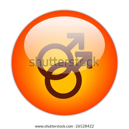 Glassy Red Gay Icon - stock photo