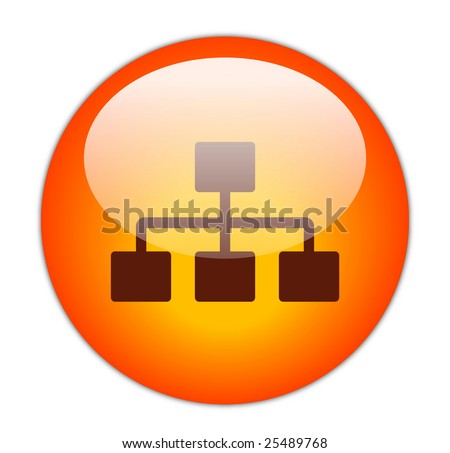 Glassy Red Network Icon - stock photo