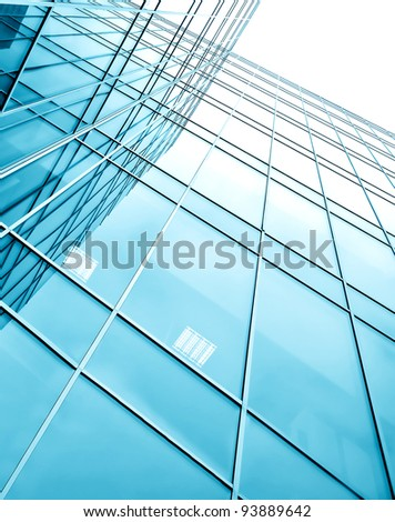 glassy texture of contemporary turquoise glass business center