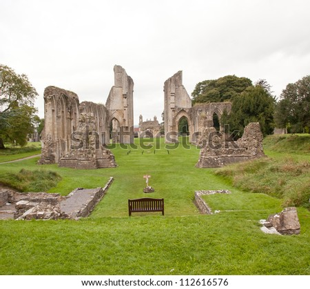 Glastonbury Abbey in Somerset, England, UK - stock photo