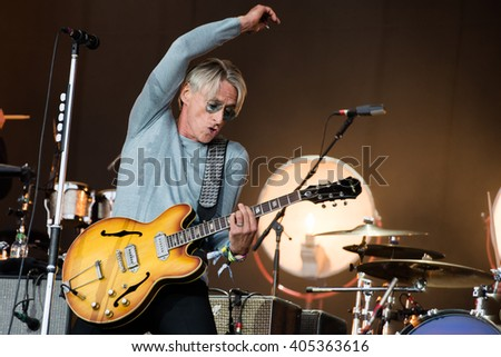 Glastonbury, Somerset, UK - June 28, 2015 - Paul Weller playing Glastonbury Festival's Pyramid Stage - stock photo