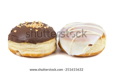 Glazed and chocolate donuts on isolated on white background with clipping path - stock photo