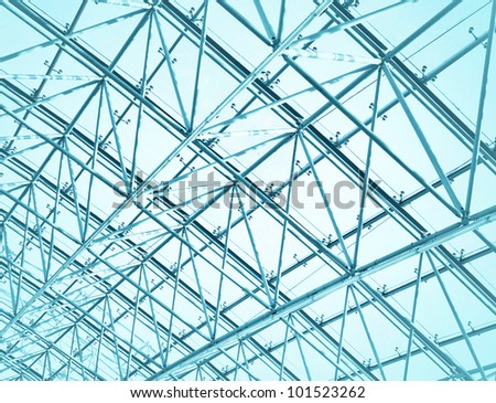 glazed ceiling upside in blue colors toned - stock photo