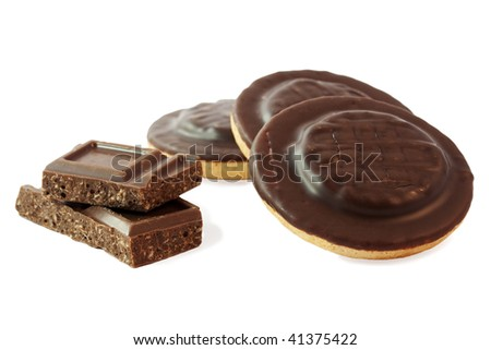 Glazed cookies and chocolate isolated on white background