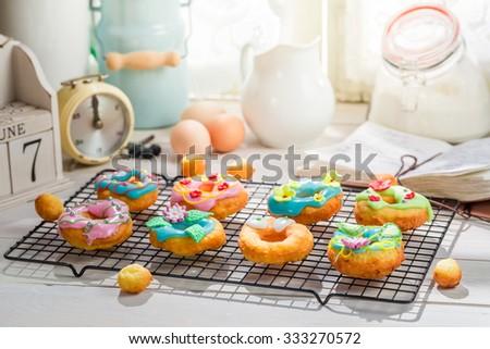 Glazed delicious donuts - stock photo