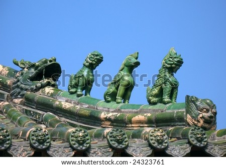 Glazed figurines on the eave of a Chinese temple