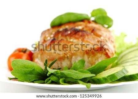 Glazed Roast Pork with vegetables isolated on white background. - stock photo