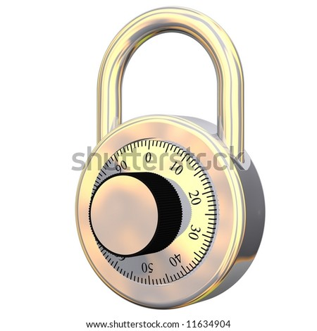 Gleaming combination lock isolated on white