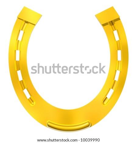 Gleaming gold horseshoe isolated on white - stock photo