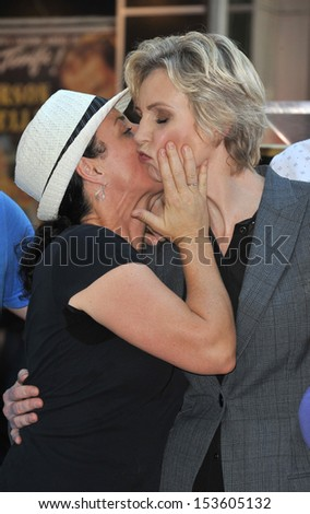 Glee star Jane Lynch & friend on Hollywood Blvd where she was honored with the 2,505th star on the Hollywood Walk of Fame. September 4, 2013  Los Angeles, CA - stock photo