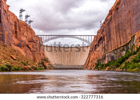 Glen Canyon Dam on Colorado river and Lake Powell near Page, Arizona, USA - stock photo