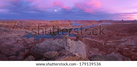 Glen Canyon National Recreation area, Alstrom point  at sunset  - stock photo