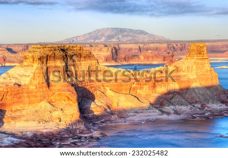 Glen Canyon National Recreation Area, Alstrom Point, Lake Powell at sunset.
