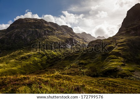Glen Coe Valley, Highlands, Scotland - stock photo