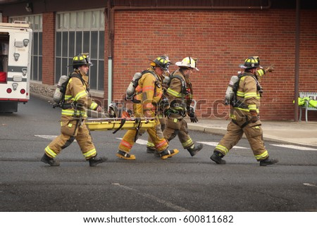 GLEN ROCK, NEW JERSEY - MARCH 7, 2017: Emergency workers responding to a building fire. Editorial use only.
