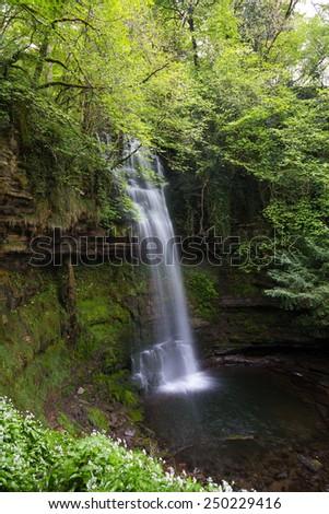 GLencar waterfall in Leitrim, Ireland - stock photo
