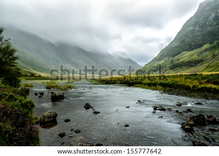 Glencoe, in the heart of the Highlands, one of Scotland's most famous and scenic glens - stock photo