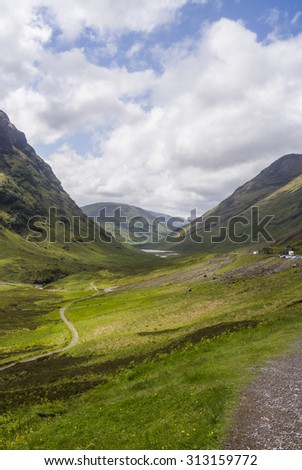Glencoe mountains and valley, In the Highlands of Scotland - stock photo
