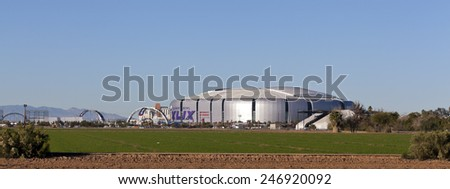 GLENDALE, AZ - JANUARY 24, 2015: One week readiness at University of Phoenix Cardinal Stadium where New England Patriots play Seattle Seahawks during Super Bowl 49 on February 1, 2015 - stock photo