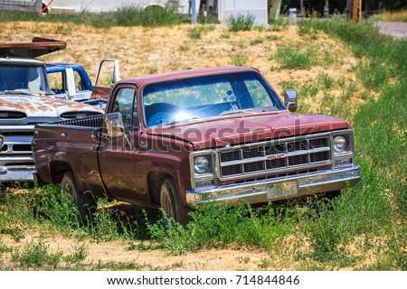 GLENDALE, UT: August 2016 - Old GMC pickup truck in Glendale UT