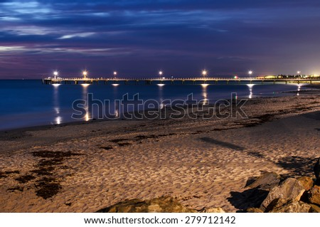 Glenelg Jetty at night. South Australia,  long exposure effect. - stock photo