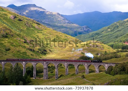Glenfinnan Viaduct in Scotland Harry Potter - stock photo