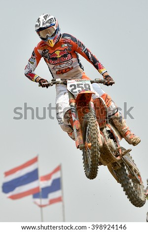 Glenn Coldenhoff no.259 Team Red Bull KTM Factory Racing in competes during  Race1 MXGP class the FIM Motocross Wolrd Championship Grand Prix of Thailand on March 06,2016 in Thailand. - stock photo