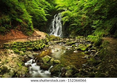Glenoe Waterfall. Northern Ireland. - stock photo