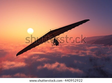 Glider flight over the clouds..3D render - stock photo