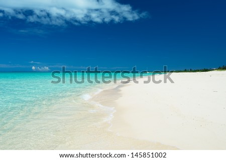 Glistening white Maehama Beach. This image was taken in Okinawa Prefecture, Japan  - stock photo