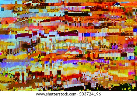 Glitched TV screen with low signal. Digital art, abstract technology background in surreal colors