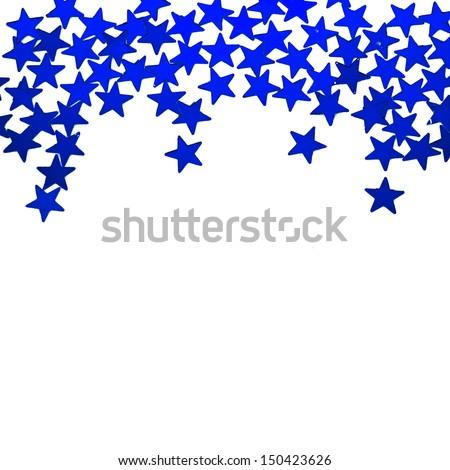Glitter blue stars ornaments border isolated on white background  - stock photo