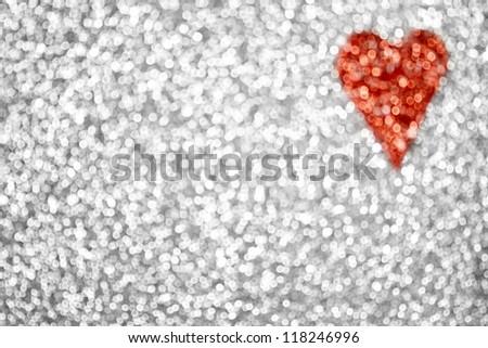 Glitter heart background - stock photo