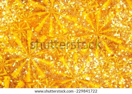 glitter sparkle golden wave background - stock photo