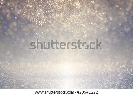 glitter vintage lights background. blue, silver. defocused  - stock photo