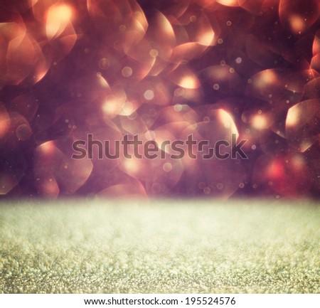 glitter vintage lights background. brown and gold. defocused - stock photo
