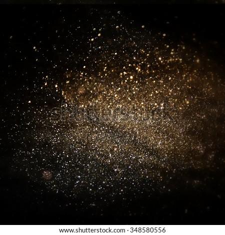 glitter vintage lights background. light silver, gold, black. defocused.  - stock photo
