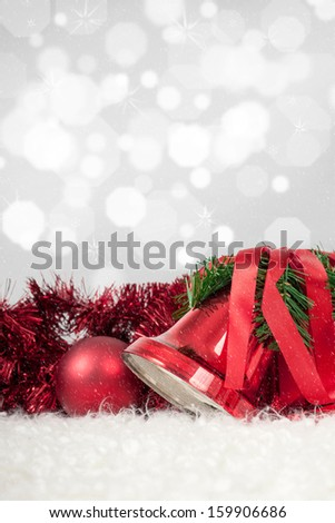 Glittering Background and Snowflakes on Xmas Bells - stock photo