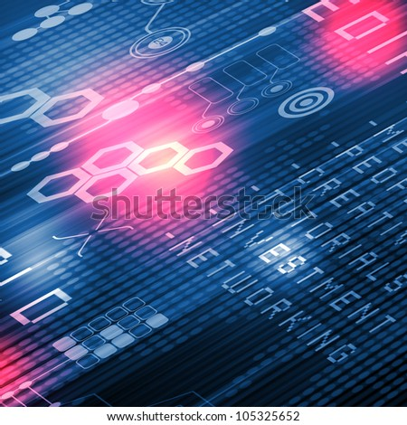 Glittering digital flow against blue and pink background - stock photo