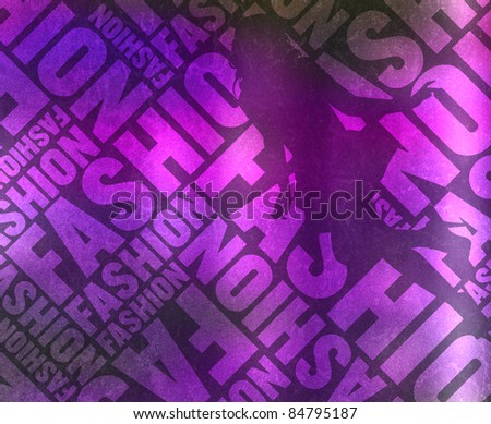 glittering fashion typographic texture with woman silhouette - stock photo