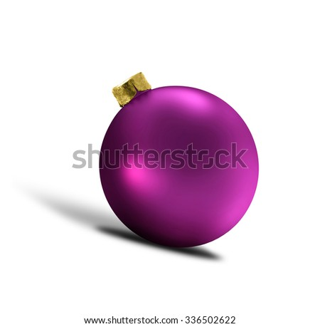 glittering purple christmas bauble over white
