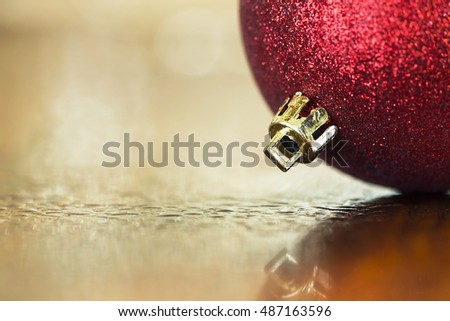 Glittering red Christmas decoration bauble ball background