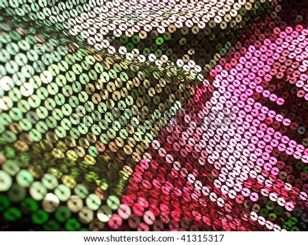 Glittering sequined texture closeup. More of this motif & more sequins in my port. - stock photo