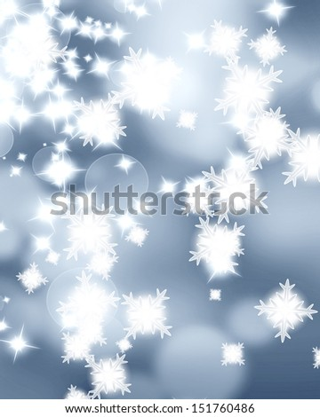 glitters and snow flakes on a soft silver background - stock photo