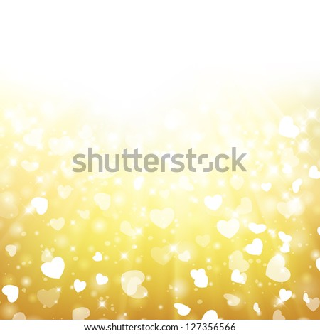 Glittery gold Valentine's day background with place for new year text invitation. For vector version, see my portfolio. - stock photo