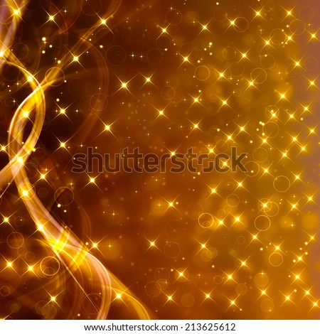 Glittery golden festive background with stars and waves - stock photo