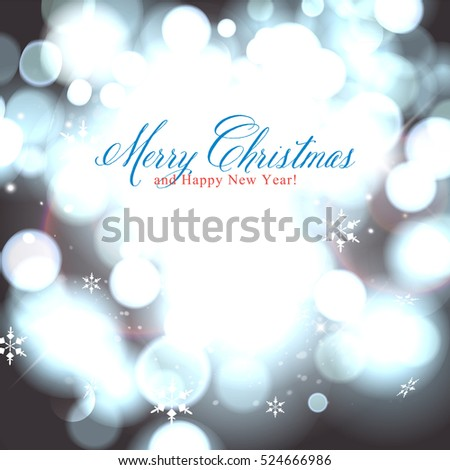 Glittery lights silver abstract Christmas background.