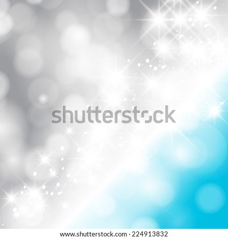 Glittery lights silver and blue abstract Christmas background. - stock photo