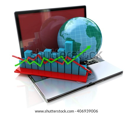 Global analysis in business.3D Illustration - stock photo